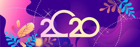 2020 calendar numbers, New Year greeting card, bright leaves tropical plants on a blue background, horizontal banner, vector illustration