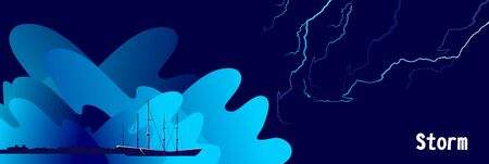 Bad weather at sea, huge abstract storm waves, lightning sparkles on the sky, horizontal vector illustration