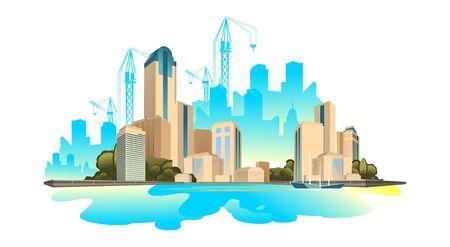 Paysage urbain de bâtiments modernes Vecteurs