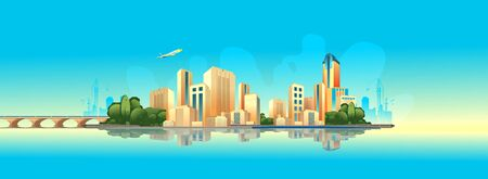 City buildings, panoramic landscape megalopolis on the edge of the canal, bright sunny day vector horizontal illustration