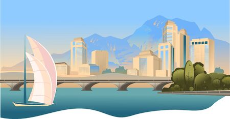 City buildings, panoramic landscape megalopolis on the edge of the canal, bright sunny day vector horizontal illustration Stok Fotoğraf - 132123826