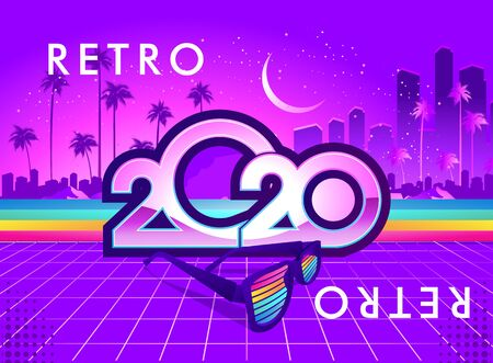 2020 calendar numbers, New Year greeting card in retro synthesizer wave style horizontal banner, vector illustration