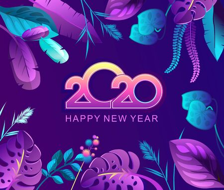 Vector horizontal illustration banner, tropical leaves, space for text congratulation invitation happy new year 2020