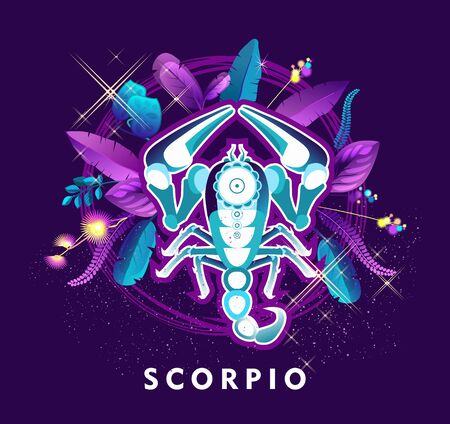 Vector illustration of magic horoscope sign Scorpio style of the 60s, bright hippie art