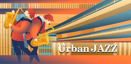 Vector illustration, template for web banner, landing page with live music, radio, for internet users Иллюстрация