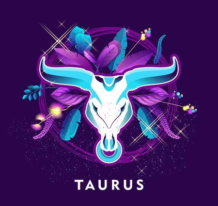 Vector illustration of magic horoscope sign Taurus style of the 60s, bright hippie art
