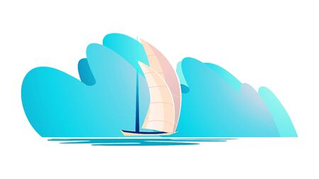 Bad weather at sea, huge abstract storm waves approaching a quiet harbor boat horizontal vector illustration isolated white background Иллюстрация