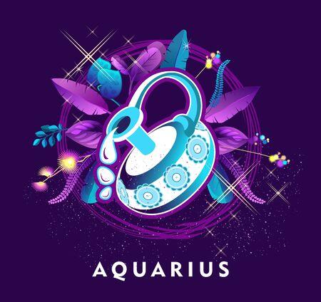 Vector illustration of magic horoscope sign Aquarius style of the 60s, bright hippie art