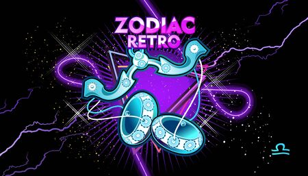 Libra zodiac Astrological horoscope, in retro style on a black background with neon luminous elements, sacred gothic symbols of the constellations, vector horizontal illustration