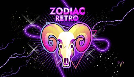 Aries zodiac Astrological horoscope, in retro style on a black background with neon luminous elements, sacred gothic symbols of the constellations, vector horizontal illustration