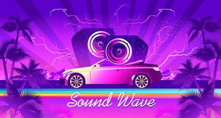 car audio sound wave banner