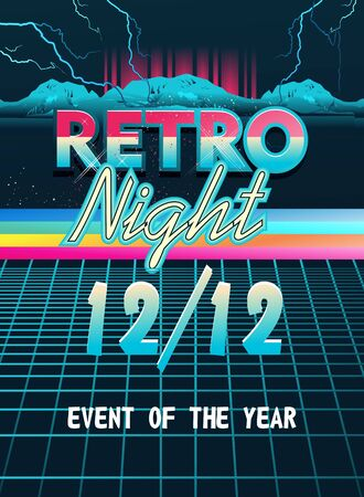 retro wave cyber space poster