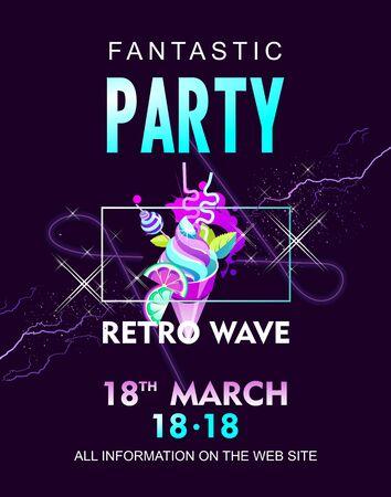 retro wave virtual reality poster