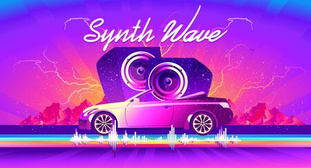 horizontal poster, in the style of vaporwave Synthwave retrowave, retro 80s, car with huge speakers and sound waves Иллюстрация