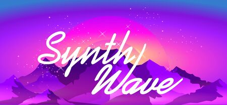 Synthwave retrowave, retro 80s, ad or invitation to a theme party with neon colors, vector illustration Иллюстрация