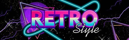 Retrowave virtual reality, laser sky show, sci-fi horizontal banner, neon on a background of a triangle in starry space. synthwave vector background