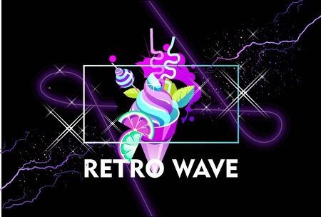 Synthwave retro wave, space delicious pie, retro 80s, ad or invitation with neon colors horizontal banner Иллюстрация
