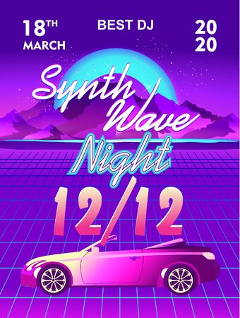 Synthwave retrowave, retro 80s, vertical poster, ad or invitation to a theme party with neon colors, vector illustration