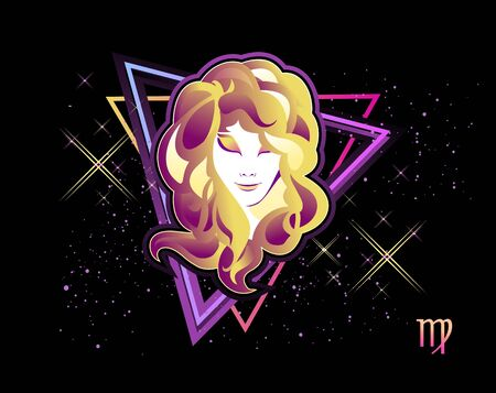 virgo zodiac Astrological horoscope, in retro style on a black background with neon luminous elements, sacred gothic symbols of the constellations, vector horizontal illustration