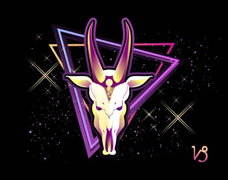 Capricorn zodiac Astrological horoscope, in retro style on a black background with neon luminous elements, sacred gothic symbols of the constellations, vector horizontal illustration
