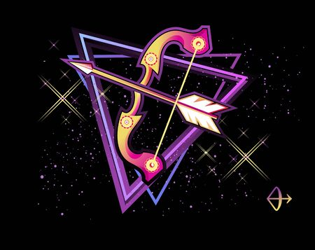Sagittarius zodiac Astrological horoscope, in retro style on a black background with neon luminous elements, sacred gothic symbols of the constellations, vector horizontal illustration