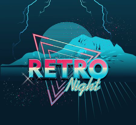 Retrowave virtual reality, laser sky show, sci-fi , neon on a background of a triangle in starry space. synthwave vector background
