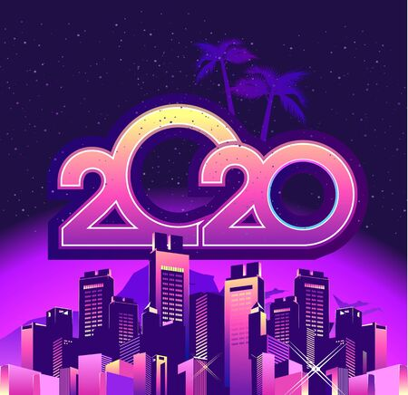 2020 calendar numbers, new year greeting card, festive night neon city, square shape, vector illustration