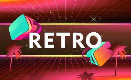 futuristic world of virtual reality, fictional landscape with space dimension portal in the 80s style, Retro fashion Sci-Fi Background vector illustration