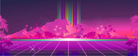 Retro futuristic virtual reality world, fictional landscape in 80s style, Sci-Fi Background vector illustration