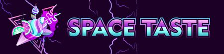 Synthwave retro wave, space vkusnuypirogek, retro 80s, horizontal banner with neon colors