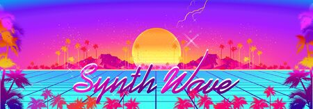 Synthwave retro wave, cyber landscape with laser grid luminous rays. Horizontal web banner, vector illustration vaporwave retrowave