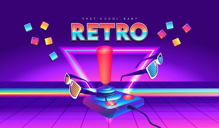 Futuristic horizontal banner, retro computer game in the style of the 80s on a game console with a joystick. Neon laser beams loading page  イラスト・ベクター素材