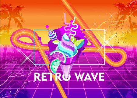 Synthwave retro wave, cyber landscape with laser grid luminous rays. Horizontal web banner, vector illustration vaporwave retrowave