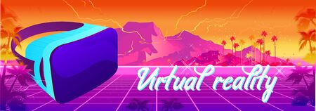 Futuristic horizontal banner virtual reality, with VR glasses, in cyberspace Yellow and pink landscape game 80s. Futuristic synth wave, retrowave style