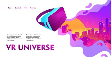 Retro futuristic virtual reality world, template for website homepage, horizontal banner, vector illustration
