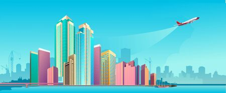 Horizontal banner daytime city landscape panoramic view of the city Vector illustration Illusztráció