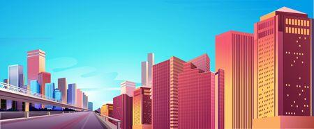City street buildings, skyline view, white real estate background, district concept horizontal banner , flat vector illustration Illustration