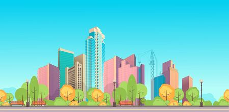 Horizontal banner daytime city landscape panoramic view of the city Vector illustration