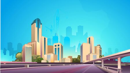 City street buildings, skyline view, white real estate background, district concept horizontal banner , flat vector illustration 向量圖像