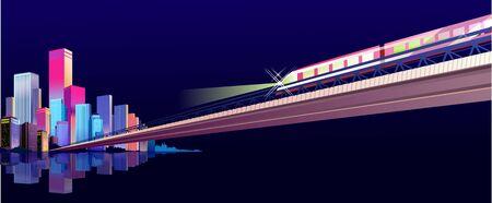 neon lighting City street buildings, night landscape, horizontal banner on a dark night background, flat vector illustration
