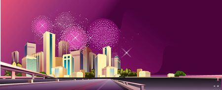 Panorama of the night city, streets and roads and bridges illuminated by neon lights, district concept horizontal banner, flat vector illustration