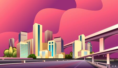 City street buildings, skyline view, white real estate background, district concept horizontal banner , flat vector illustration