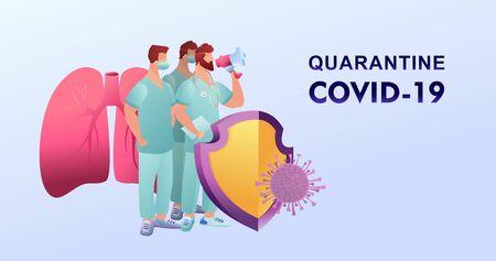 Covid-19 virus strain, a team of doctors warns of the dangers of getting the flu virus 向量圖像