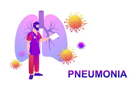Covid-19 virus strain, doctor, media, notifies about the danger of getting pneumonia, the landing page home page template, conceptual vector banner, isolated icon on white background Vektorové ilustrace