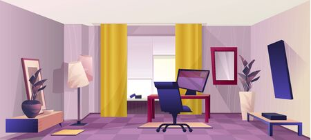 Design of a home room with a workplace, an office for remote work, in a retro style, with a perspective into the depths. Vector horizontal illustration. Ilustracje wektorowe