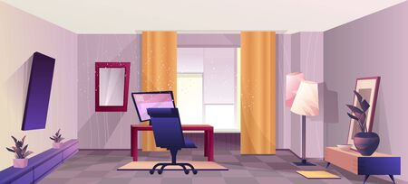 Design of a home room with a workplace, an office for remote work, in a retro style, with a perspective into the depths. Vector horizontal illustration.