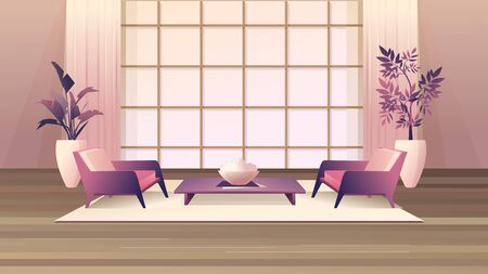 Cozy living room design and decor accessories, in retro style with a deep perspective, vector horizontal illustration