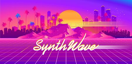 Synthwave cyber landscape with laser grid