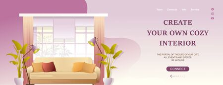 Interior design of a resting place in a living room in the hall, a sofa near the window, horizontal vector illustration, conceptual banner