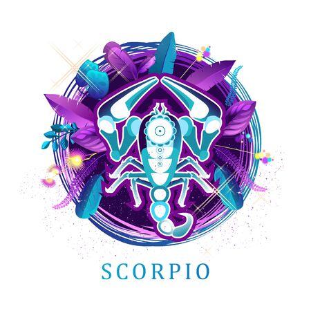 Scorpio zodiac sign white background 向量圖像